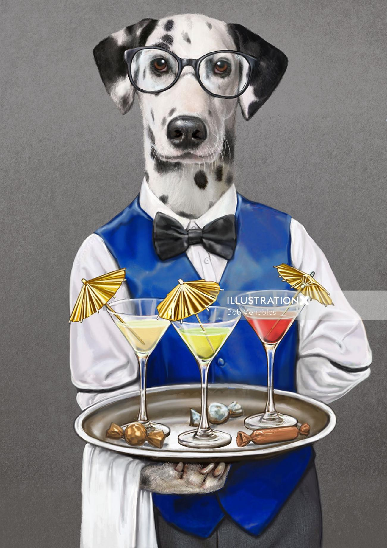 Portrait illustration of waiter dog