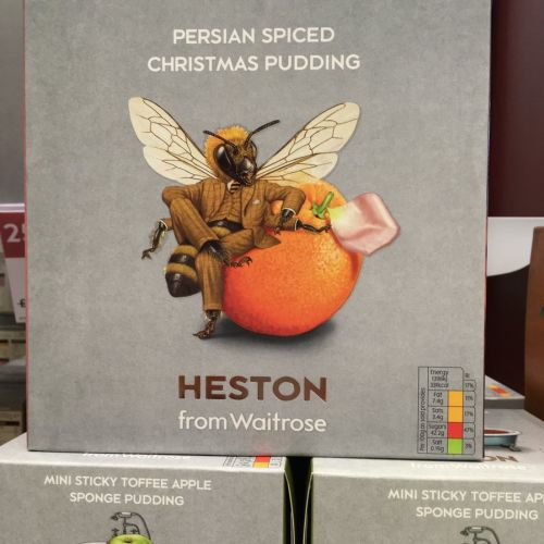 Heston Persian Spiced Christmas Pudding packaging illustration