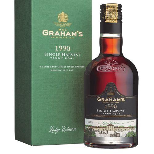 Packaging of Graham's 1990 Single Harvest Tawny Port