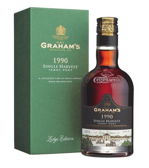 格雷厄姆 1990 年单一收获黄褐色波特酒的包装