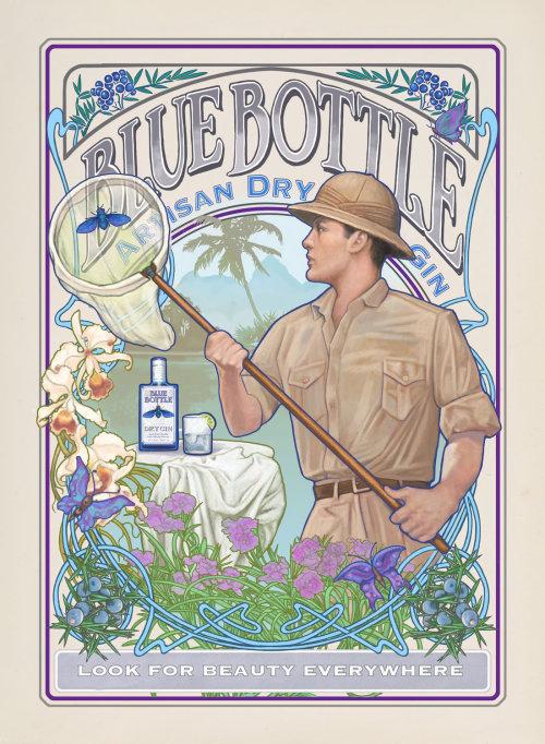 Blue Bottle Artisan Dry Gin poster design