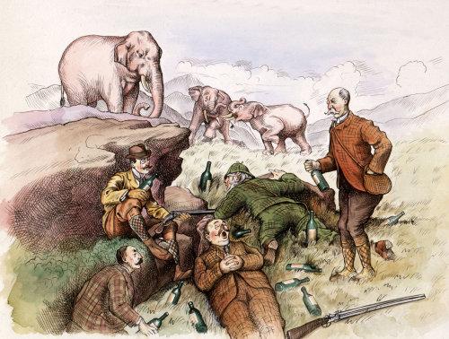 Retro Elephant hunters