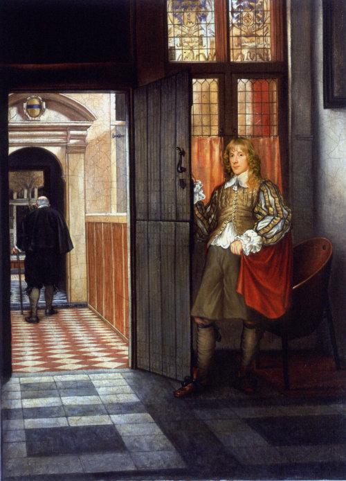 Man in redingote coat painting