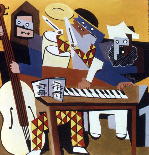 Abstract illustration of People learning music & painting
