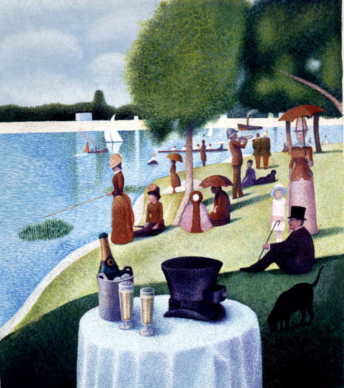 People relaxing at riverside pastiche illustration