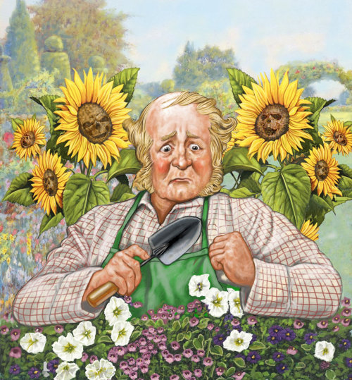 Old Lady working in garden realistic art