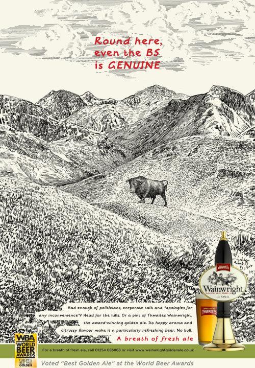 Thwaites Wainwright beer displaying poster