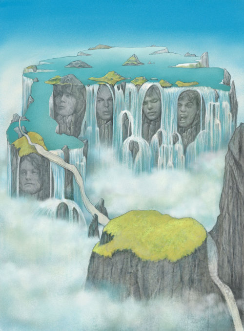 Fantasy waterfall digital painting