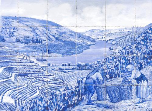 Vineyard landscape acrylic painting