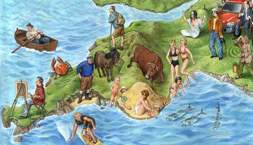 Seaside map illustration by Bob Venables
