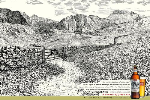 Wood engraving art for Wainwright landscape