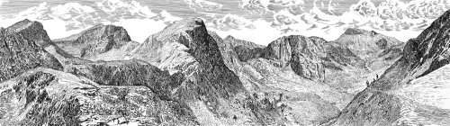 Mountain black and white drawing