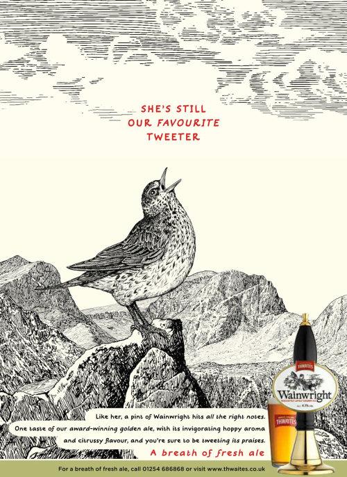 Bird Tweeter art for Thwaites Wainwright