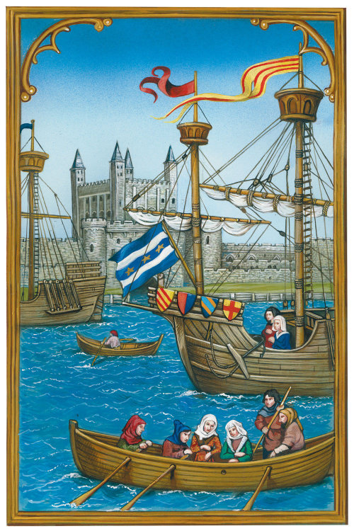 People travelling in a ship pastiche painting