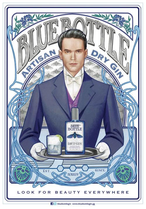 Blue Bottle Artisan Dry Gin promotional poster