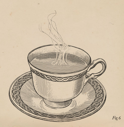 Tea cup black and white illustration