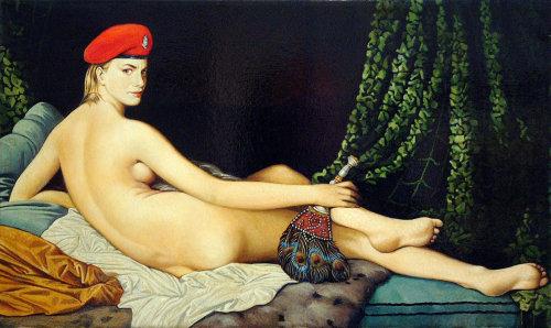 Nude woman pastiche art