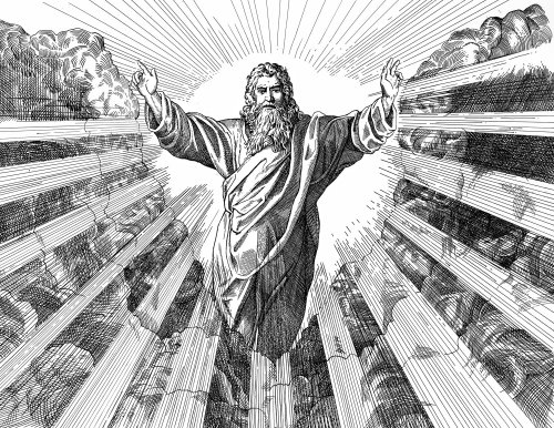 Jesus Christ black and white illustration