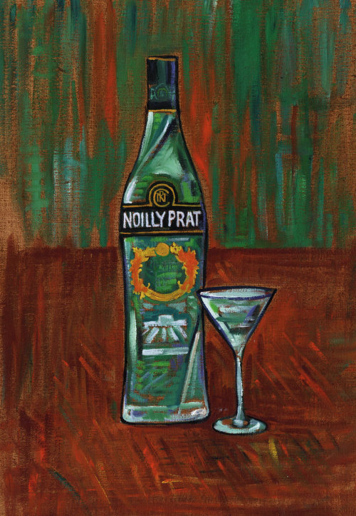 Realistic art of Noilly Prat French Vermouth