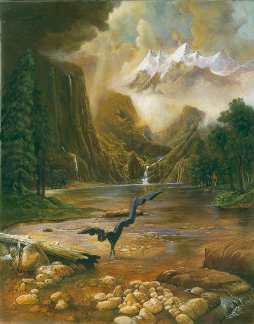 Photorealist art of Mountain river