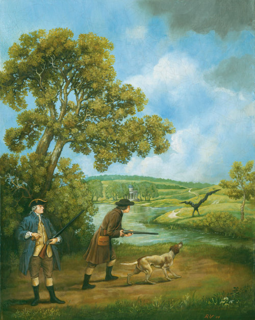 Historical painting of man hunting at countryside