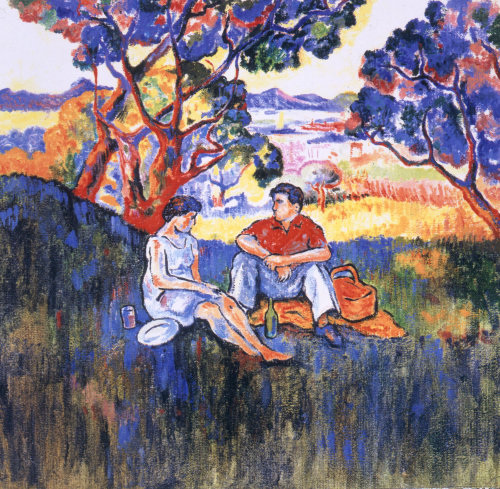 Painting of love couple at countryside