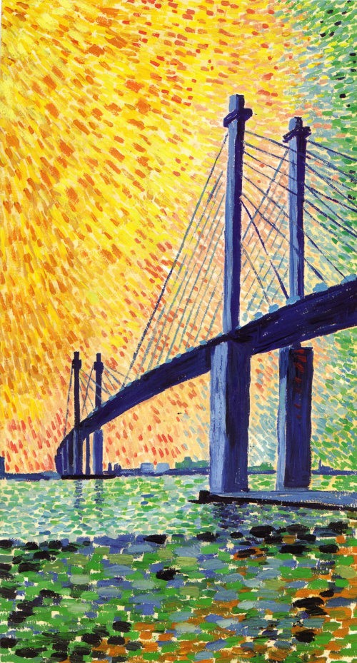 Oil painting of cable-stayed bridge