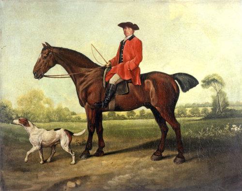 Horse riding retro art