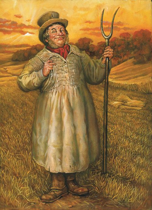 Old English smock farmer pastiche illustration