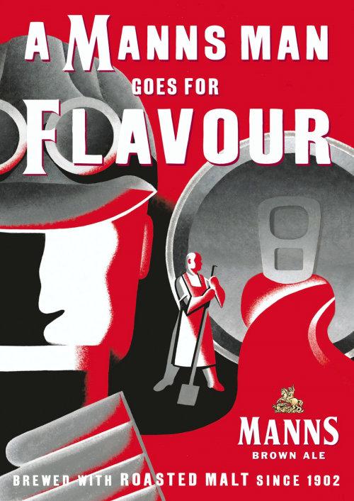 Manns Brown Ale beer label illustration