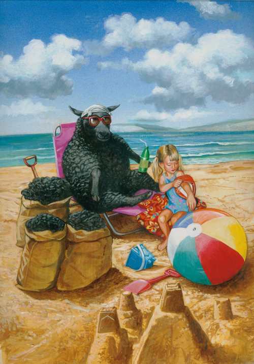 Girl and black sheep chilling at the beach