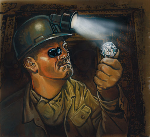 Man testing Diamond pastiche illustration