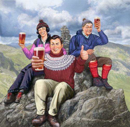 Happy people enjoying beer