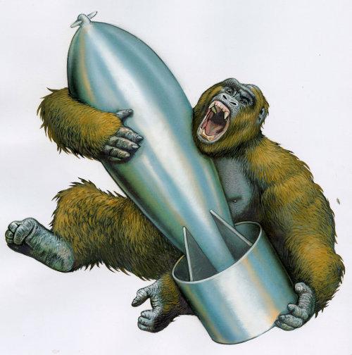 Fantasy art of animal Chimpanzee holding rocket