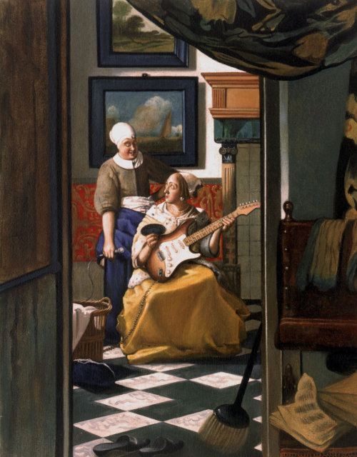 History painting of a Girl playing Guitar