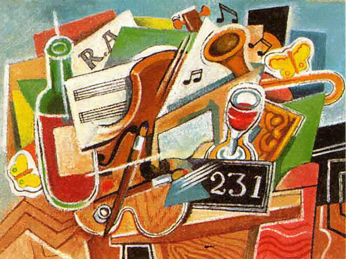 Abstract illustration of Music instruments and drink