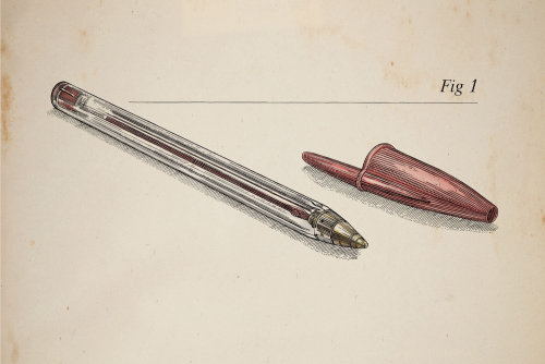 Line and color illustration of Pen