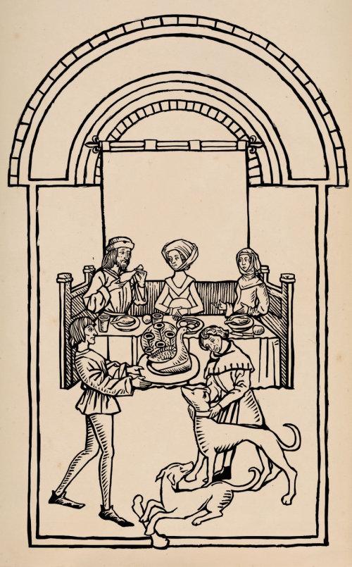 Restaurant woodcut illustration
