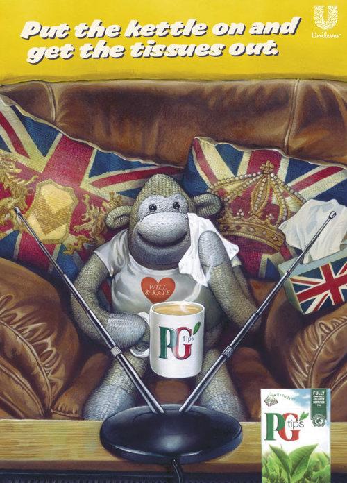 Advertising illustration of PG tips tea bags