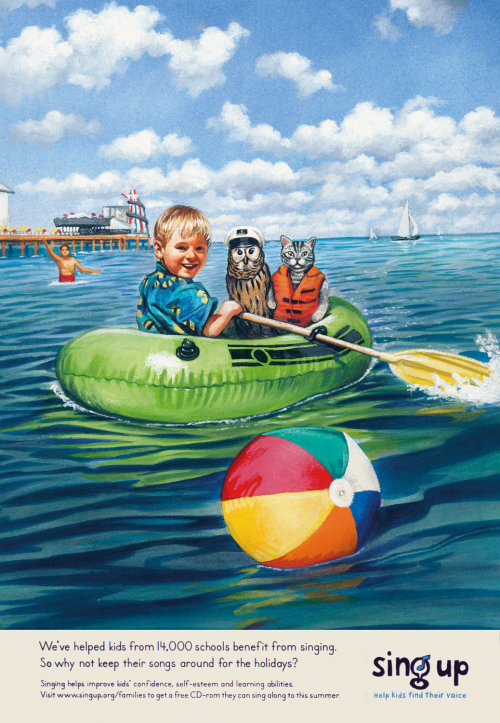 Kid boating with animal retro poster art