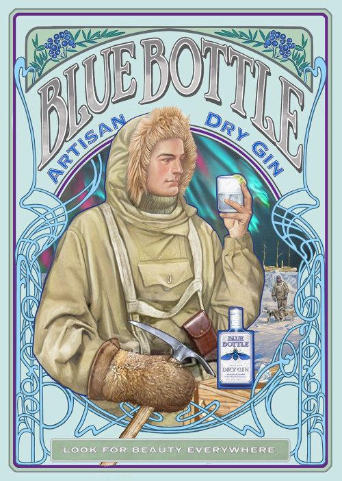 Advertising poster of Blue Bottle Artisan Dry Gin