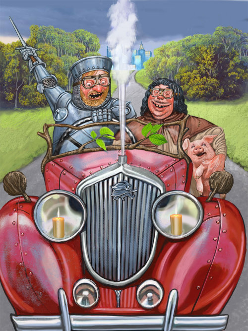 Couple riding in vintage car