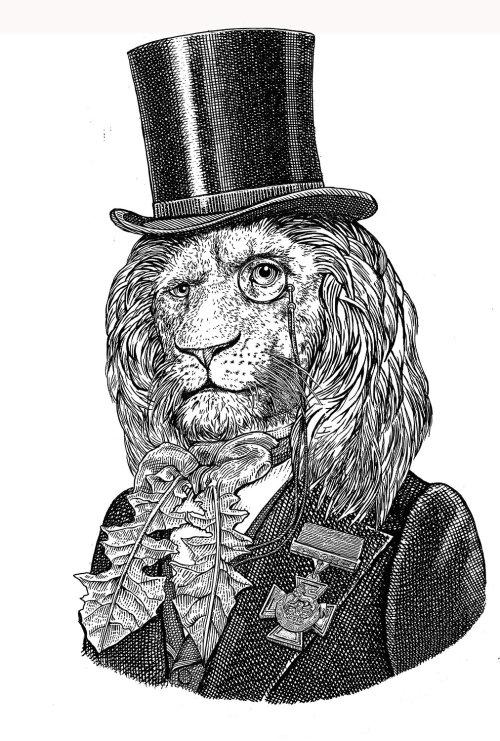 Black and white anthropomorphic Lion illustration