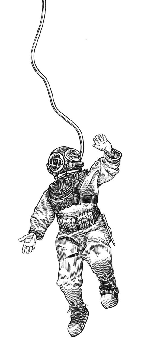 Black and white illustration of astronaut
