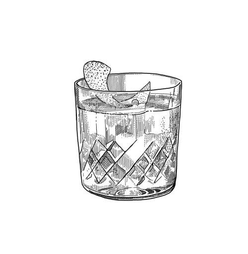 Whiskey glass black and white design