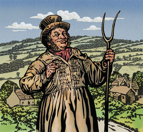 Portrait illustration of farmer