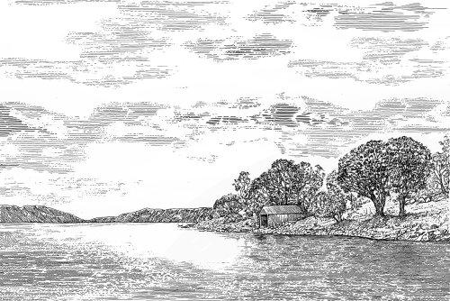 Lake view black and white design