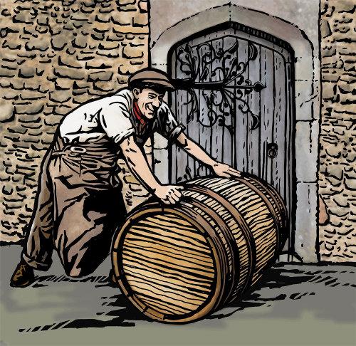 A man rolling wine barrel wood engraving illustration
