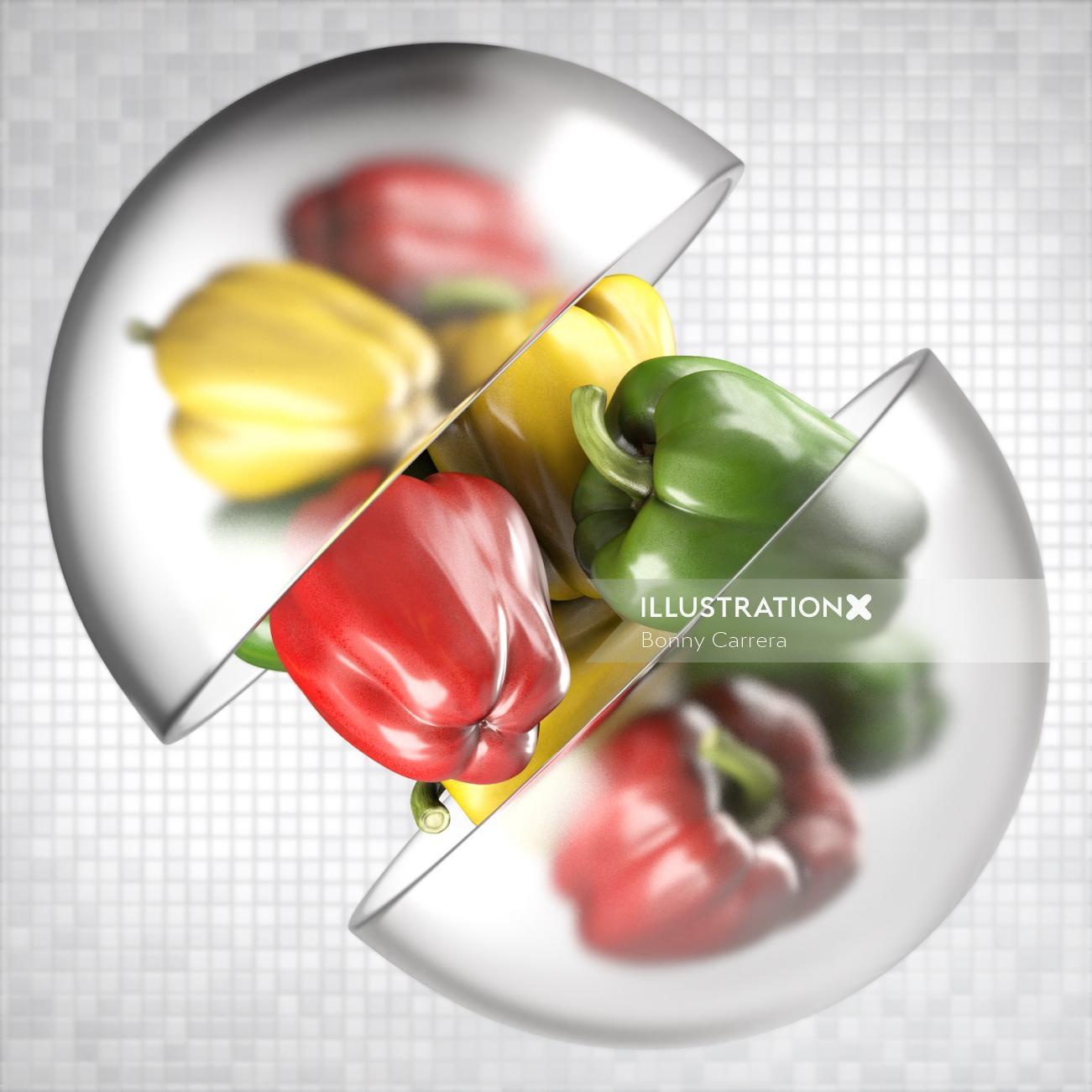 3d Food & Drink colorful capsicum