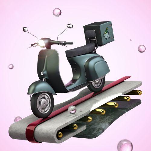 Cartoon art of scooter